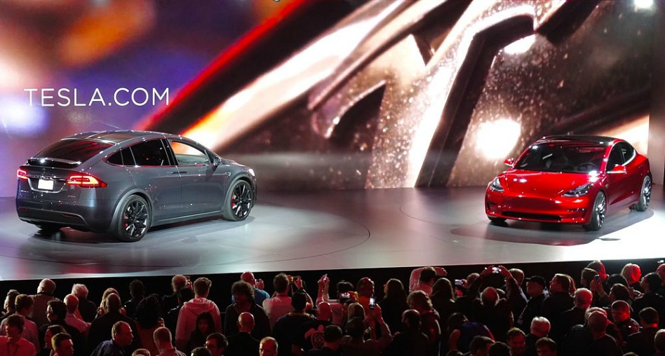 A new McMaster survey shows that consumer demand for electric vehicles like the Tesla Model X (left) and Model 3 (right) is likely to grow as the price of electric vehicles comes down.