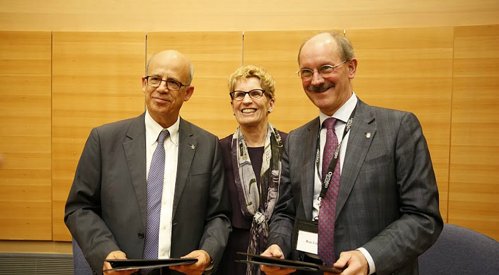 Peter Mascher, McMaster's Associate Vice-President, International Affairs (left) and Ontario Premier Kathleen Wynne pose with Joseph Klafter, President of Tel Aviv University (right) during a stop in Tel Aviv, part of a week long business mission to the Middle East.