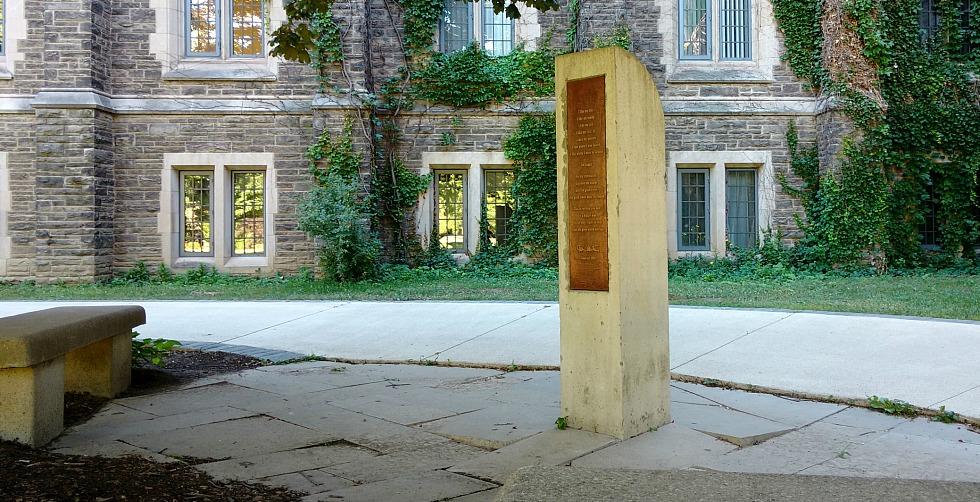 Gary Lautens monument behind University Hall