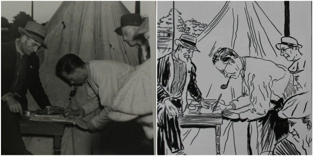 Picket Captain Norman Carter signs Welfare Vouches applications at the tent where Picket Cards are punched when strikers arrive and leave their shifts.