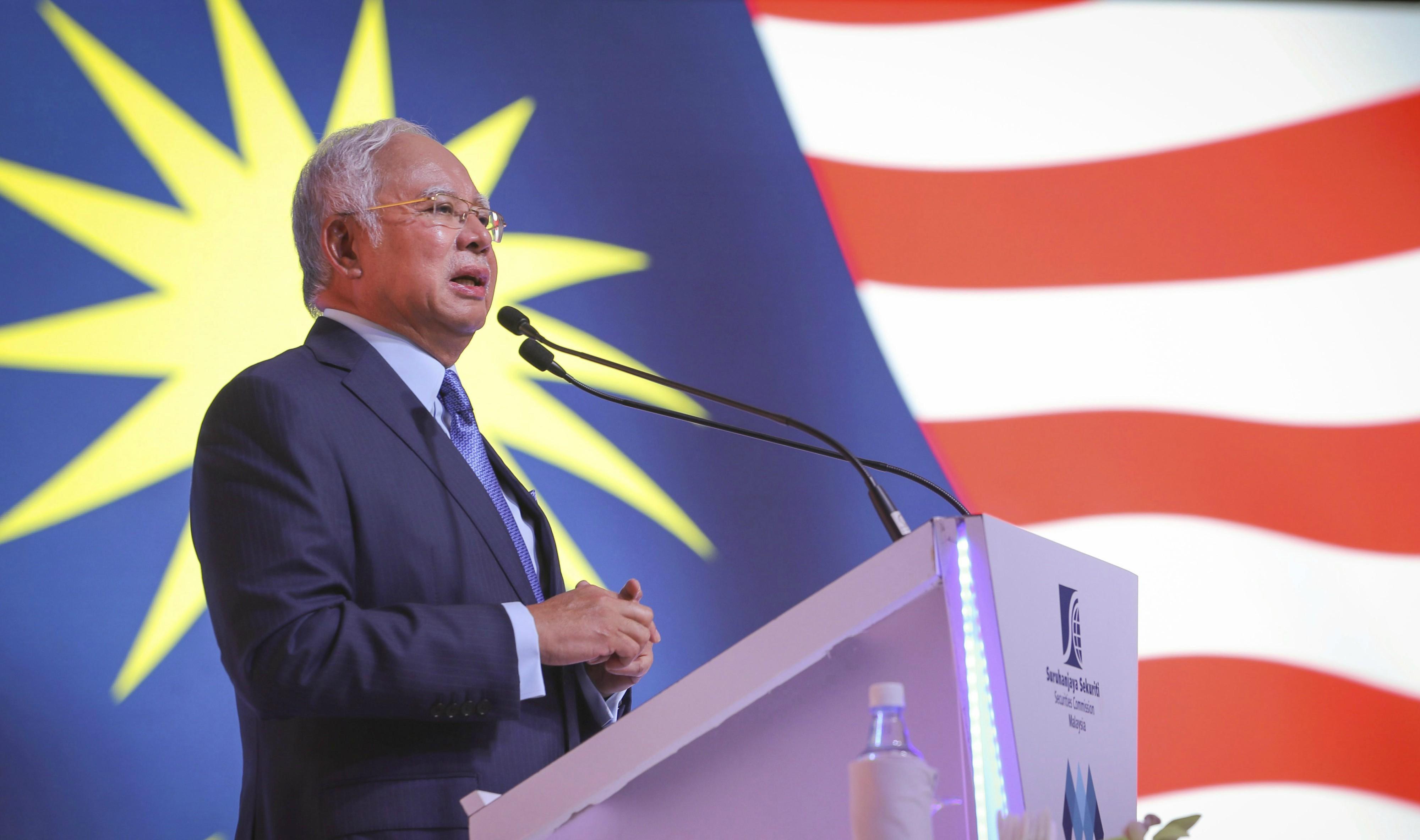Malaysia's Prime Minister Najib Razak speaks in Kuala Lumpur, Malaysia in February 2018. (AP Photo/Vincent Thian)