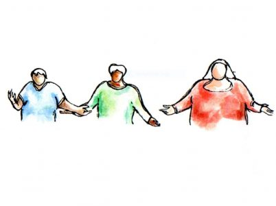 Watercolour of three people holding hands