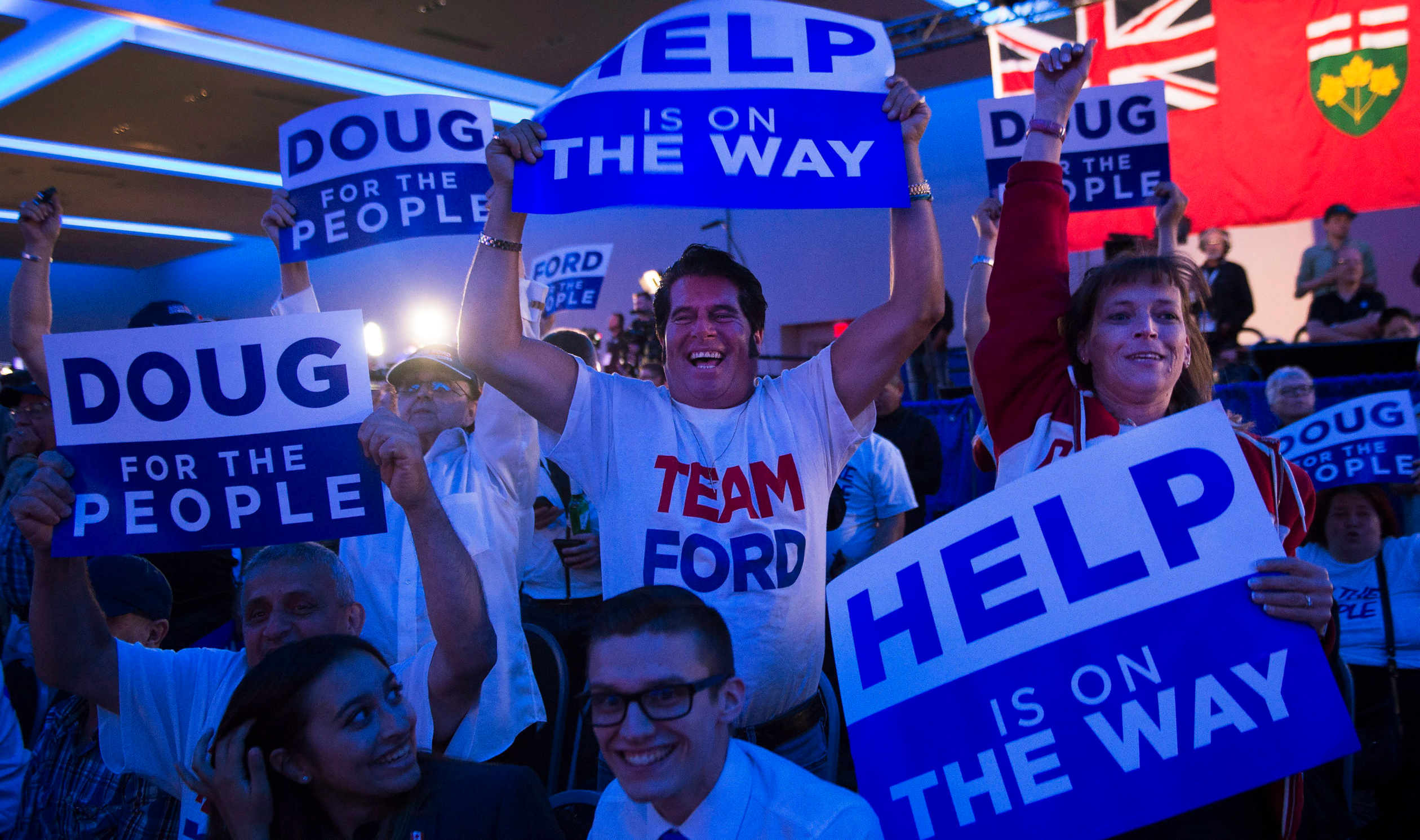 Ontario PC supporters react after Doug Ford was elected premier of Ontario on June 7, 2018. THE CANADIAN PRESS/Nathan Denette