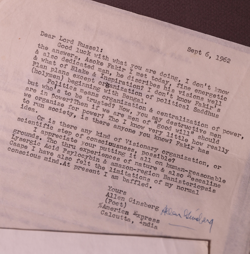Letter to counter-culture icon and poet, Allen Ginsberg. One of the many letters contained in the new Russell acquisition.