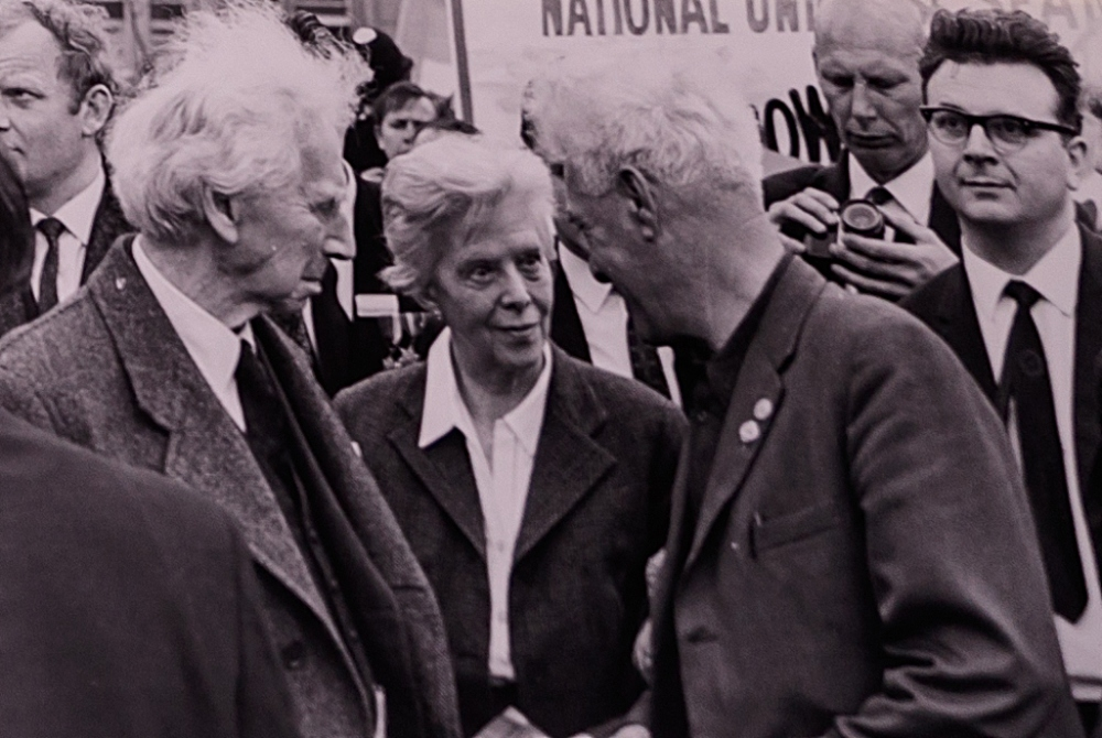 Bertrand Russell (left), aged 89, pictured with his wife shortly after being released from prison for his anti-nuclear activities.