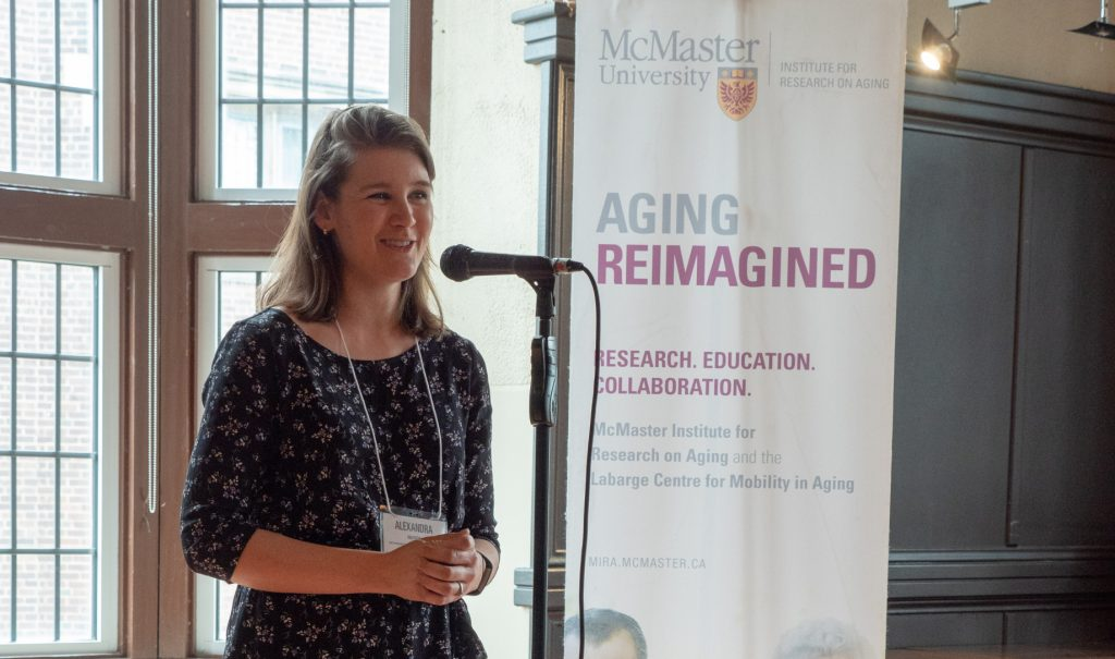 Health Sciences researcher Alexandra Mayhew presents her three-minute thesis on her research at the Phoenix.