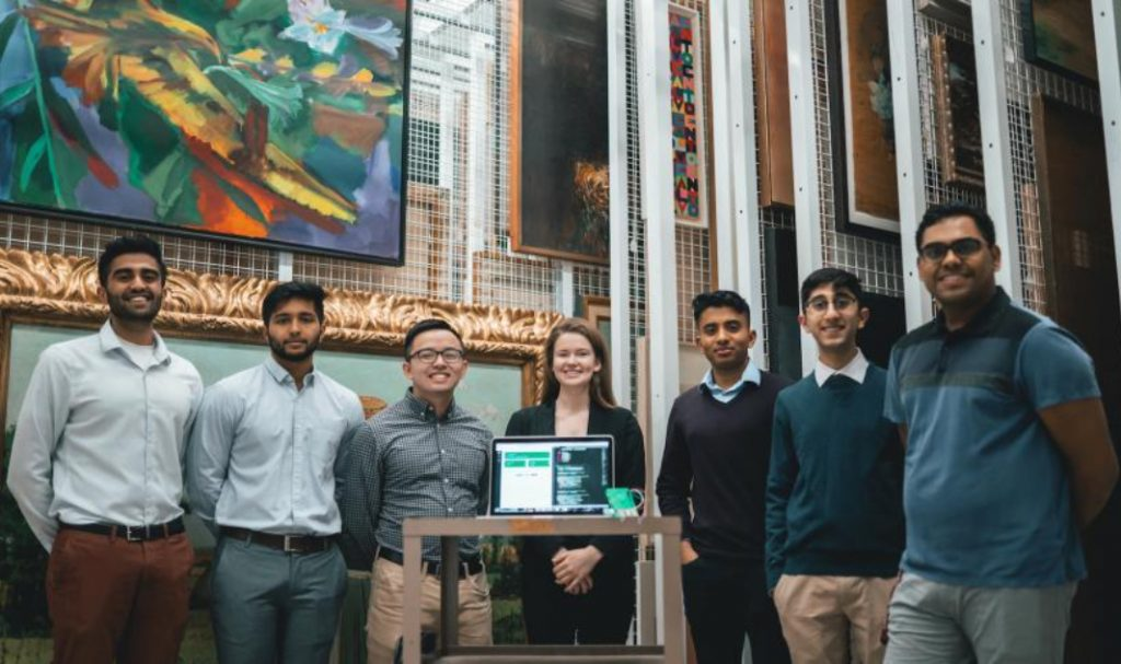 Seven engineering students, a laptop and a room full of art at the McMaster Museum of Art.