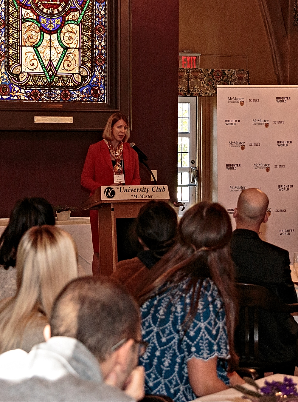 Dean of the Faculty of Science, Maureen MacDonald gives remarks at a recent reception highlighting the RBC Blue Water Foundation-funded projects.