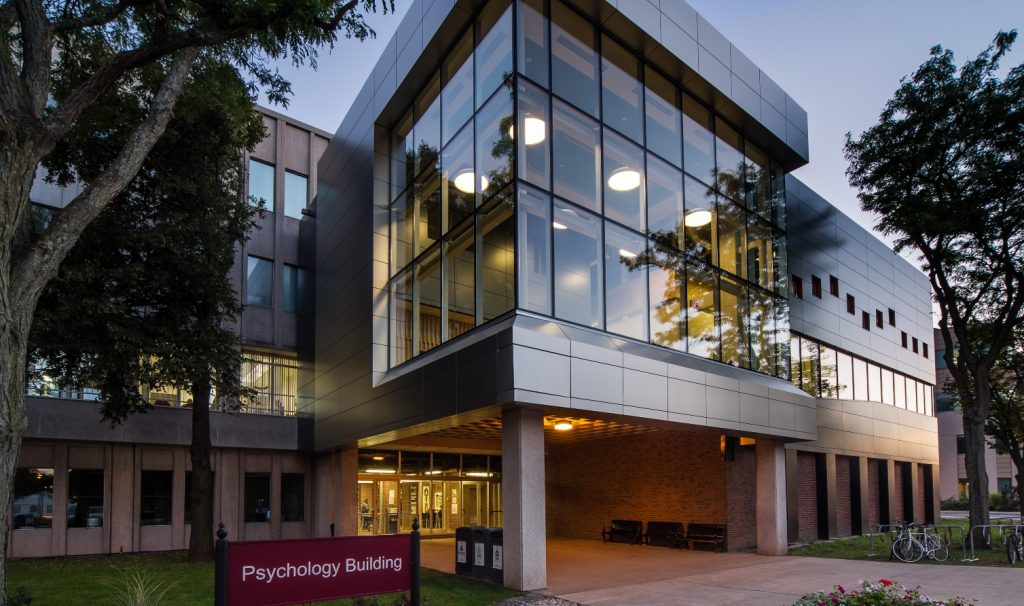 Exterior photo of Psychology Building at twilight.