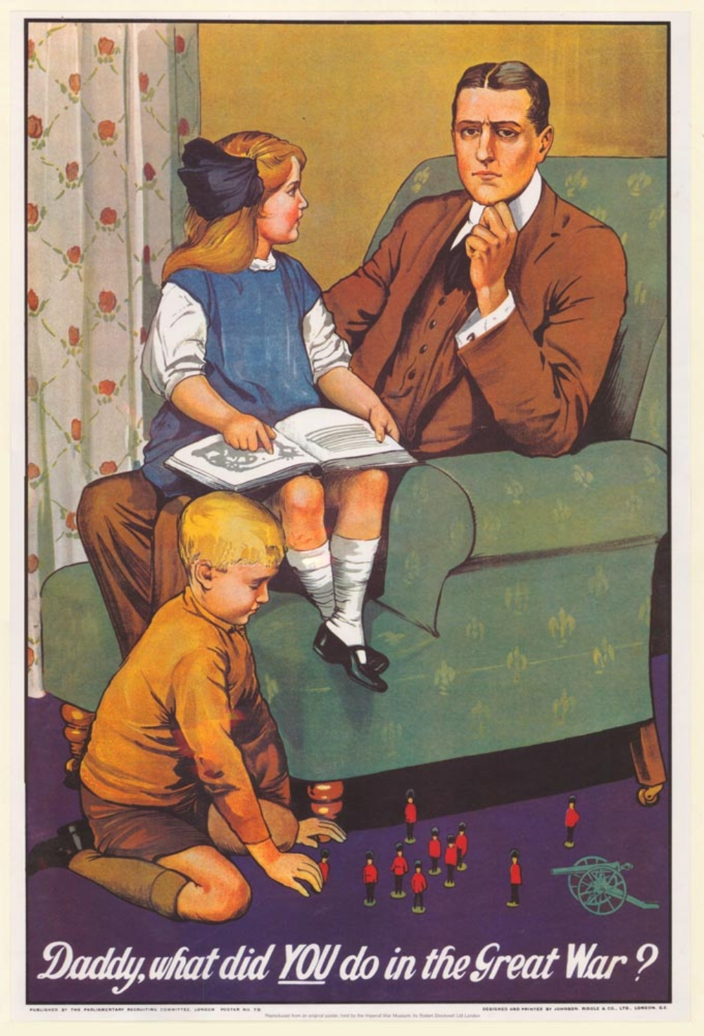 """Daddy, what did you do in the Great War?"" poster, no. 79, Parliamentary Recruiting Committee, First World War poster collection"