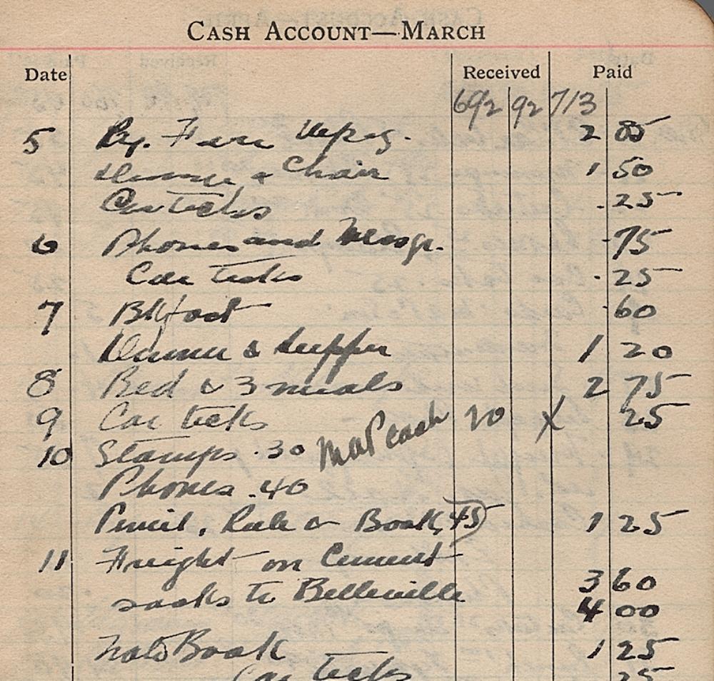 1911 Diary, March 1911 finances, Joseph M. Pigott fonds