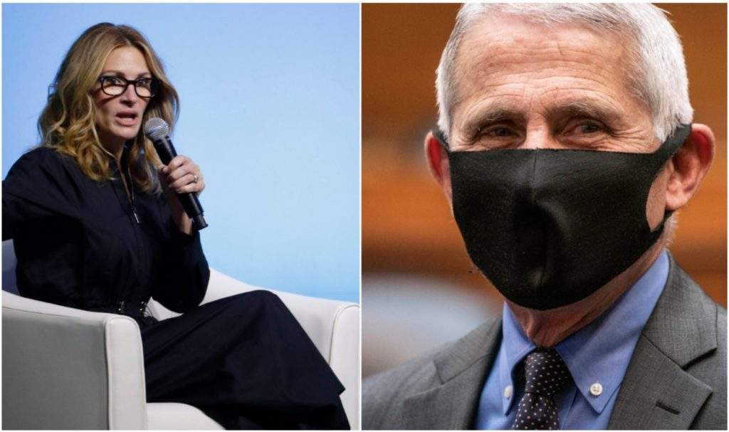 Julia Roberts speaking into a mic, alongside a picture of Dr. Fauci wearing a mask.