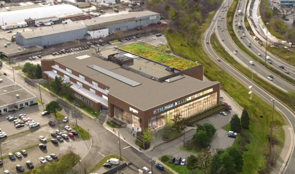 Aerial image of the former Hamilton Spectator building at 44 Frid Street.