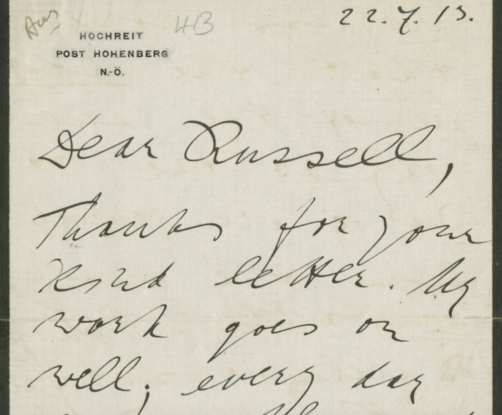 Letter to Bertrand Russell from Ludwig Wittgenstein