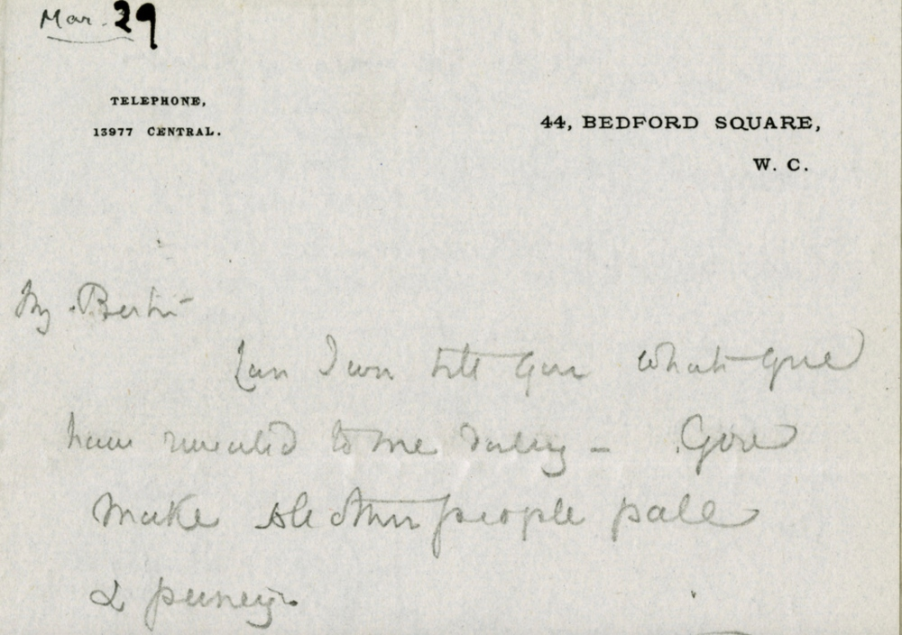 Letter to Russell from Ottoline Morell