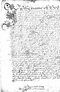 A manuscipt of a will from 1644