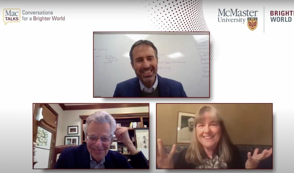 All 3 participants are on the screen, smiling in a video call. At the top right is a logo that says MacTalks