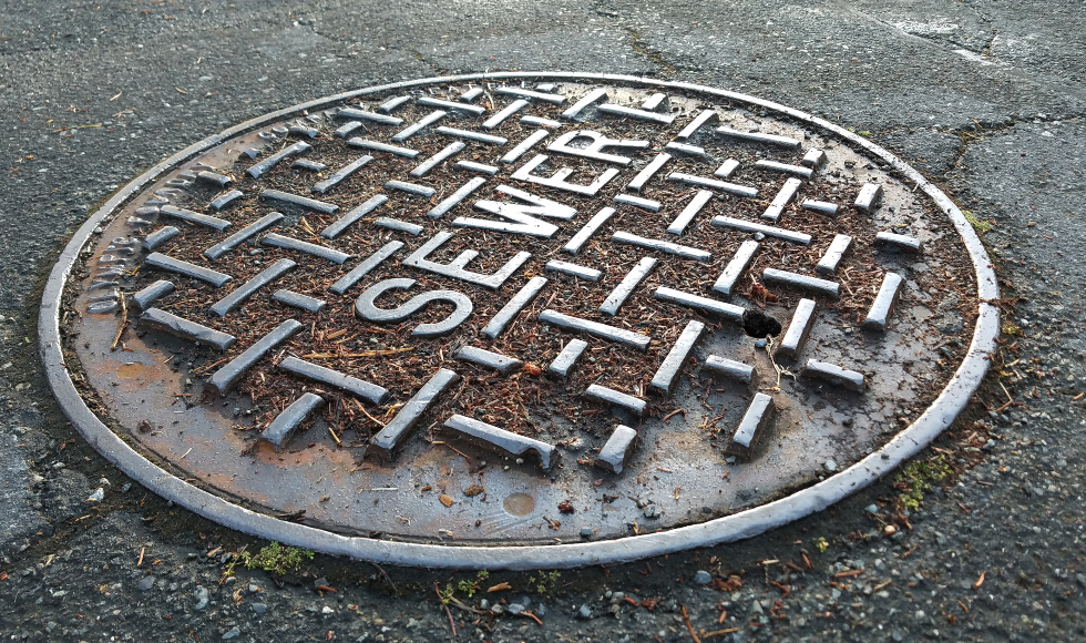 A metal sewer cover