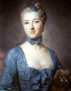 An 18th-century portrait of a woman wearing a low-cut blue dress with blue ruffles and a blue fabric choker. Her hair is gathered up on her head, and it is powdered.
