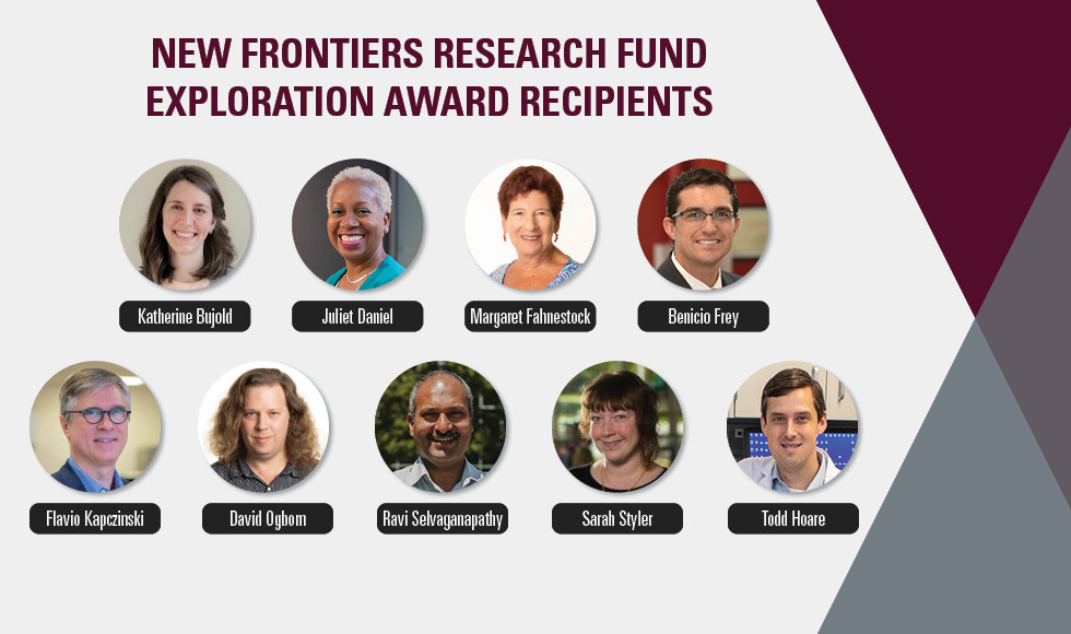 Headshots and names of 9 people, beside text that reads New Frontiers Research Fund Exploration Award recipients.